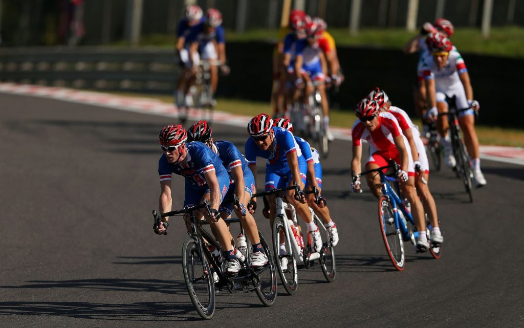 Clark Rachfal and David Swanson of the United States lead the peloton during the Men's Individual B Cycling Road Race on day 10 of the London 2012 Paralympic Games at Brands Hatch on September 8, 2012 in Longfield, England
