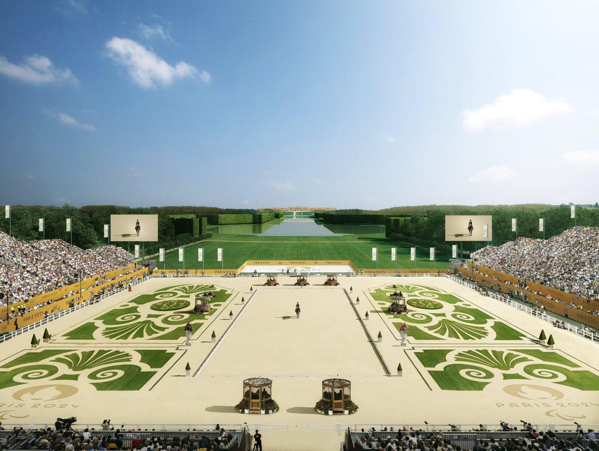Vue du stade dans le jardin de Versailles